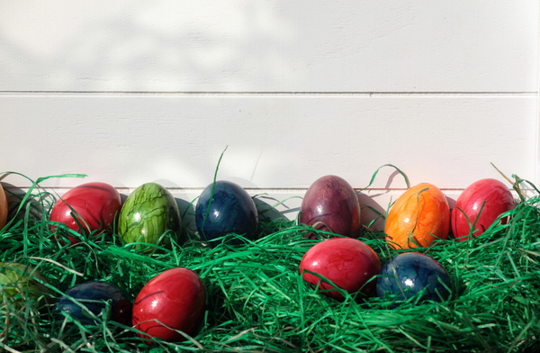 Colorfull Easter eggs: Colorfull eggs on green straw