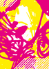 Abstract Popart Magenta Yellow