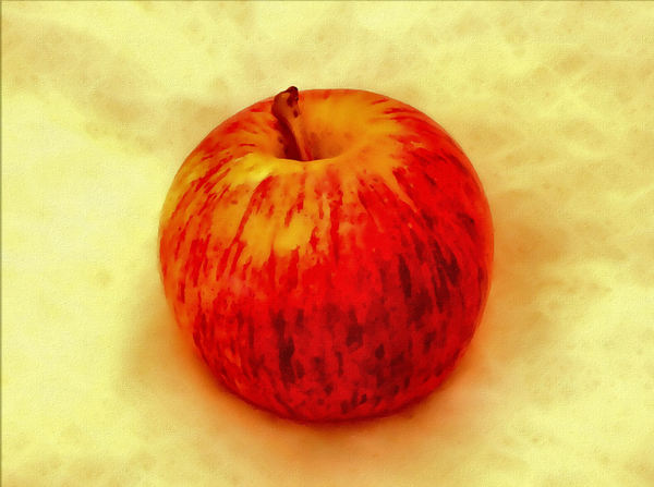 one eating apple painting: painting of juicy, crunchy eating apple