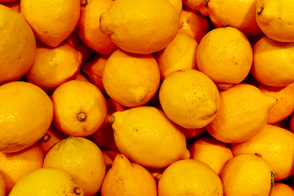 Fresh yellow lemons,: yellow lemons, fresh in the fruit market for sale
