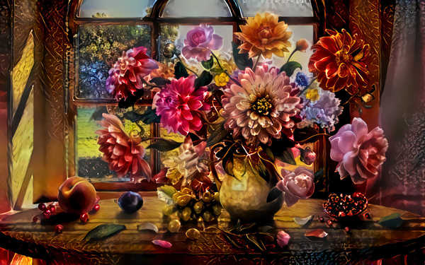 Spectacular Flowers 4: Beautiful graphic effect on a pd image of flowers in a vase. Please use within licence or contact me. You may like: http://www.rgbstock.com/photo/qIVy7nY/ or http://www.rgbstock.com/photo/qIdgHj2/
