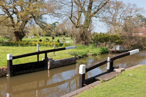 Lock gates: Lock gates on the River Wey in Surrey, England, in spring.
