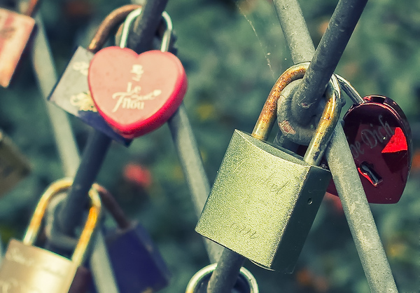 Love padlock: Love padlock hanging on a fence