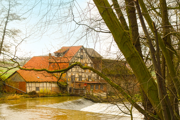 old half-timbered mill: old half-timbered mill