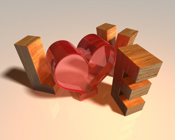 3d love: 3d text render