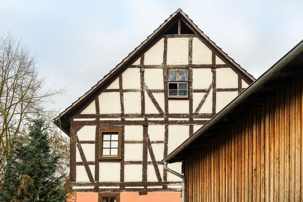half-timbered house gable: half-timbered house gable