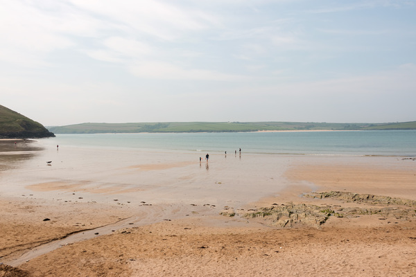 Beach at low tide: A sandy beach at low tide in Cornwall, England.