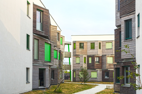 wooden facade: wooden facade - students apartment houses
