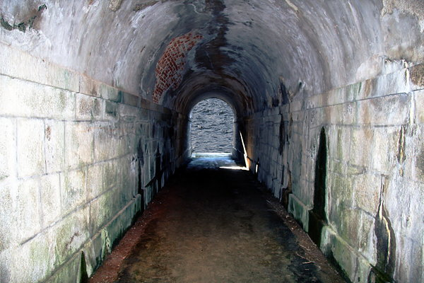 Old tunnel to the ocean: Old tunnel to the ocean in the castle of San Felipe, Ferrol, Galicia, Spain, EU