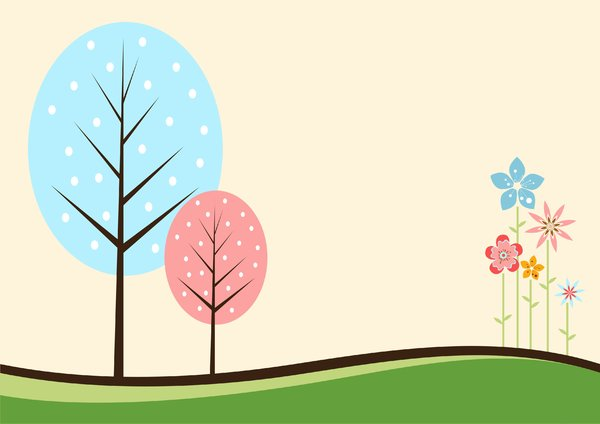 Trees with colorful flowers: Trees with colorful flowers