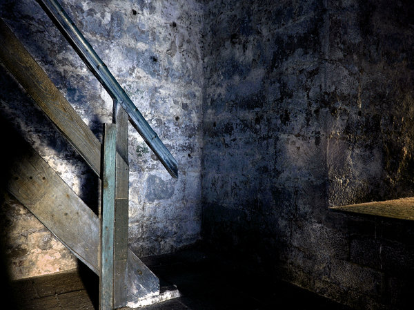 staircase: dark spooky staircase in an old castle