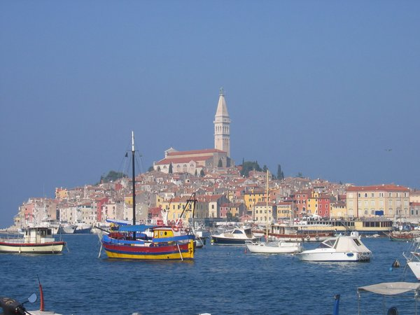 beauty of rovinj: The port and the beautiful town of Rovinj, Croatia