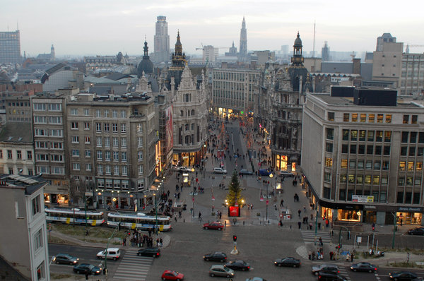City Antwerp(en) -BE- late aft: The centre of the city of Antwerp(en) -Belgium- from above at late afternoon (Xmas 2004).Credit/contact me for a high res. photo.