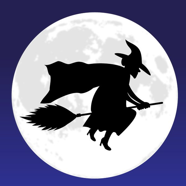Witch Moon Blue: Witch on broom silhouetted against a full moon.