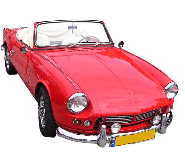 Red cabrio: Another beautiful car from XX century.