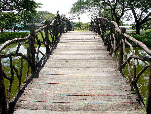 Wooden Bridge: Wooden bridge to cross a lake.