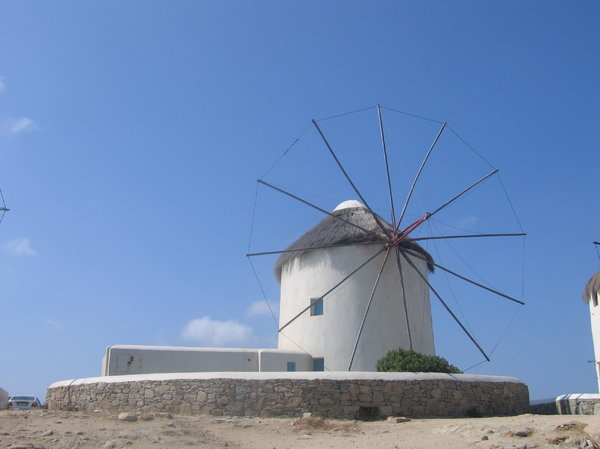Windmill on Mykonos, Greece: One of the windmills on Mykonos, Greece.