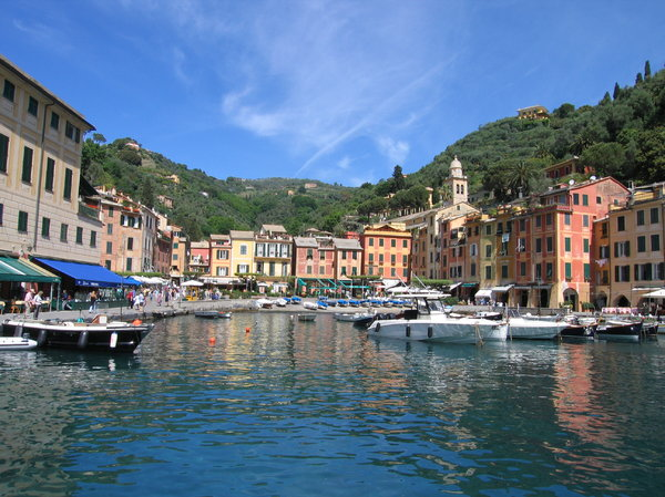 Harbor view: View on the harbor of Portofino, Italy.