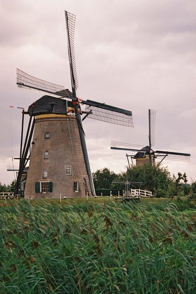 Windmills: Windmills in Kinderdijk, The Netherlands.