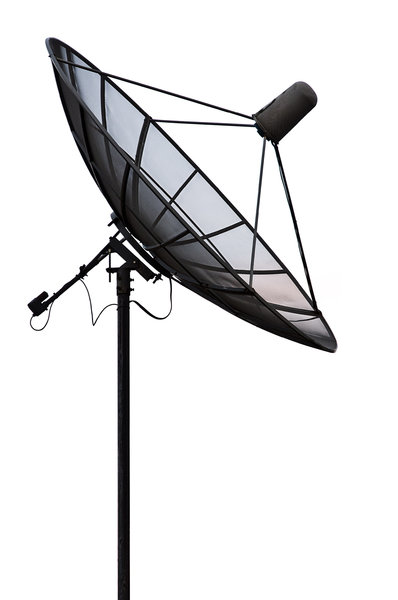 Satellite Dish: High contrast photo of a satellite dish.