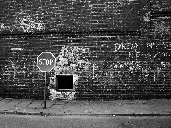 Stop sign: A stop sign put beside the street. If you do not obey it, you will hit the wall!Please mail me or comment this photo if you have used it. Thanks in advance. I would be extremely happy to see the final work even if you think it is nothing special! For me i