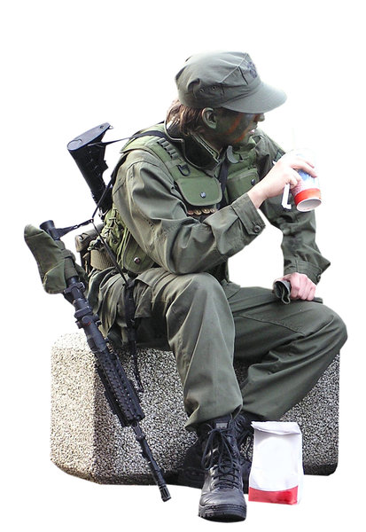 A soldier after duty: A soldier just after duty, eating fast food.Please mail me if you found it useful. Just to let me know!I would be extremely happy to see the final work even if you think it is nothing special! For me it is (and for my portfolio)!