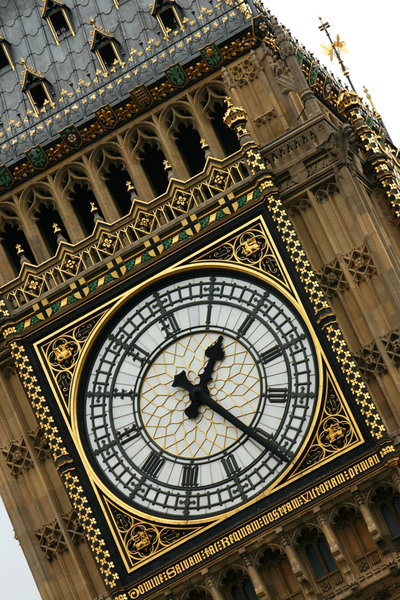 Big Ben: Close up of the clockface of Big Ben, London, England