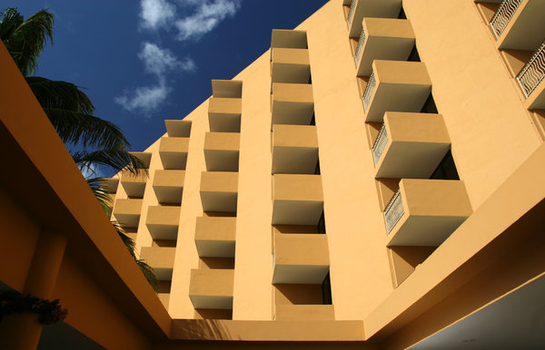 Abstract Building: Open air lobby of hotel in Aruba