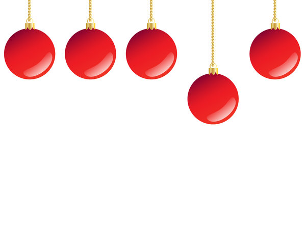 5 Red Baubles: Christmas tree decorations.  Glossy red baubles on a white background.Illustration.
