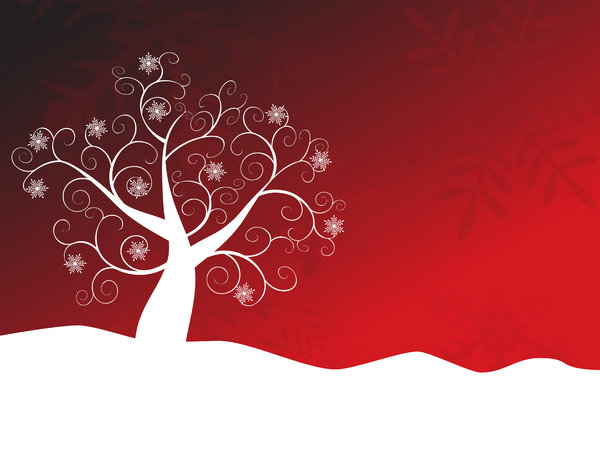 Red Snowflake Tree: Abstract siwirly snowflake tree and snow against an abstract snowflake gradient background.