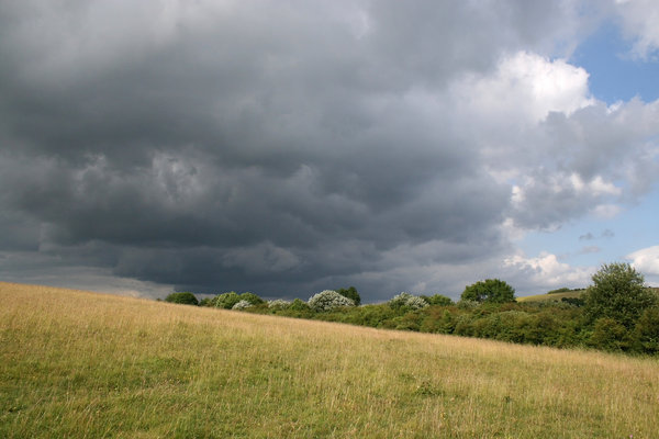 Summer storm 3: An approaching summer storm on the South Downs, West Sussex, England.