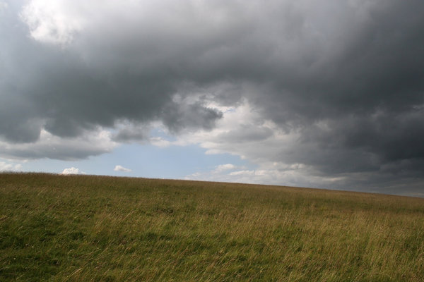 Summer storm 1: An approaching summer storm on the South Downs, West Sussex, England.