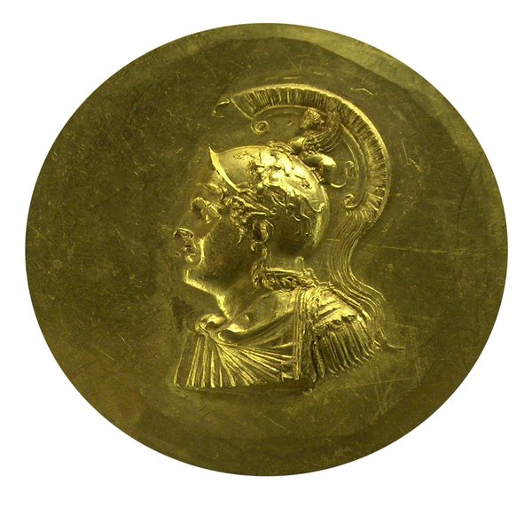 Golden ancient greek coin 1: Greek gold coin with face of Alexander the Great