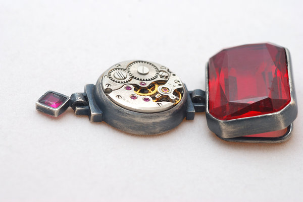 Unique pendant with clock and : little clock mechanism and ruby decoration in silver frame as a unique jewellery