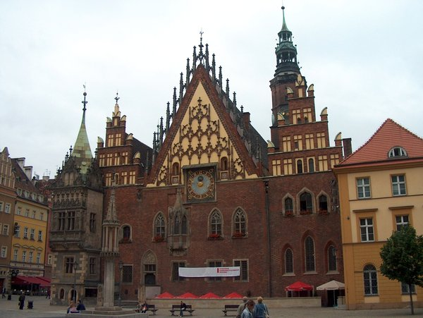 Gothic cityhall in Breslau: Medieval townhall in Wroclaw, Poland