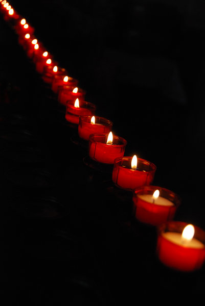 Prey candles in the church: Little candles in lutheran church