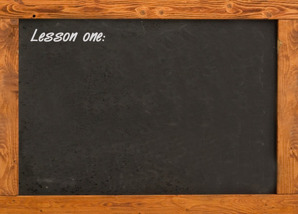 Blackboard in the classroom 2: Sample of writnig on the school board