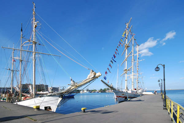 Two tall ships in the harbour: Sails ISKRA and ZAWISZA CZARNY in Gdynia Harbour, Poland