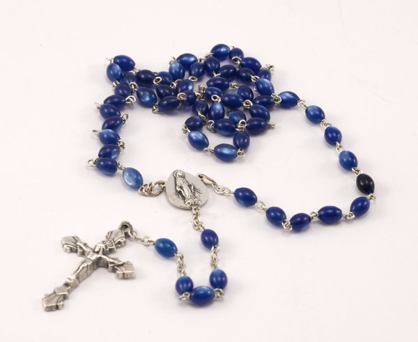 Blue rosary 5: Catholic blue beads