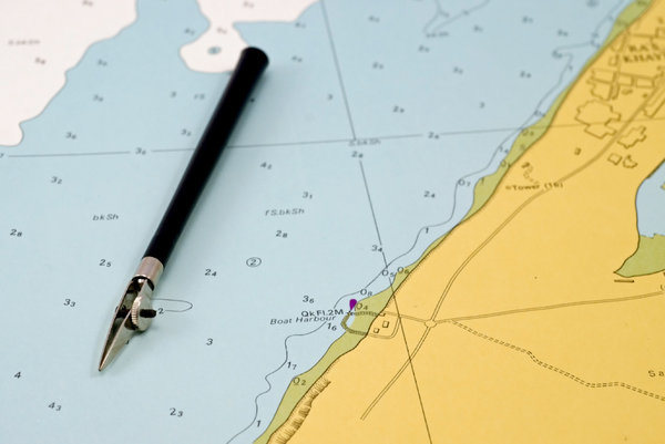 Drawing pen 3: Sea map and old drawing pen