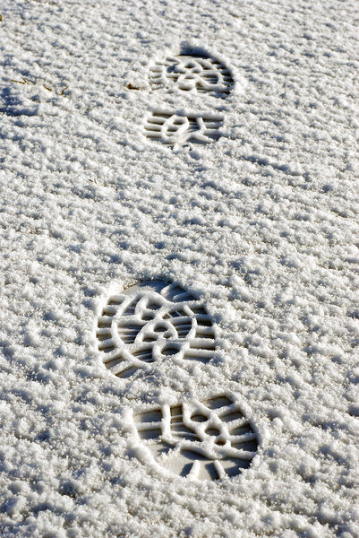 Footsteps in the snow 2: Prints of boots on the snow
