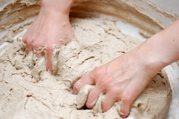 Hand making of bread 1: Knead of  ecological bread