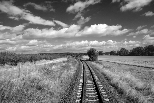 Black&white rail landscape wit: Rural landscape in Sachsen-Anhalt, Germany
