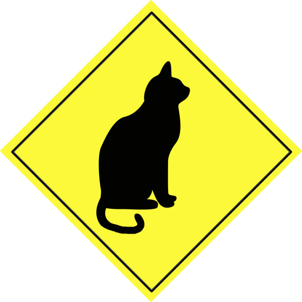 Animal warning sign 5: Cat shape