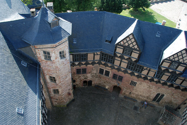 Courtyard of medieval strongho: Roofs of castle Falkenstein in Harz Mountains, Germany