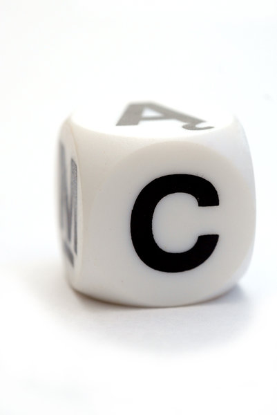 Dice with letter C: Character on the cube