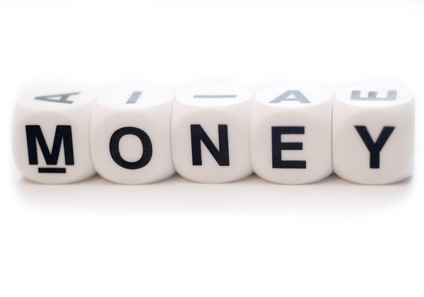Word MONEY on the dices: Cubes with letters