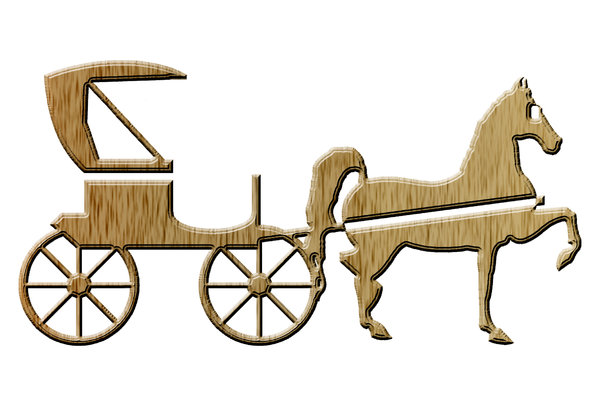 Horse-drawn carriage pictogram: A britzka also spelled brichka or britska icon