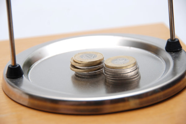 Money on the weighing scale  1: Laboratory balance and polish coins