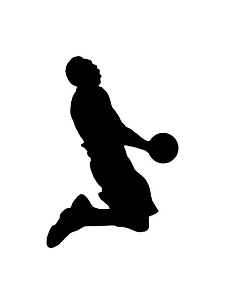 Basketball player 1: Silhouette of basketball player